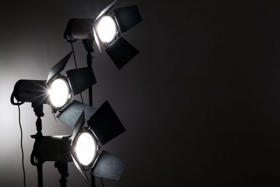 several-reflectors-on-the-black-background-in-small